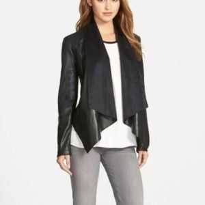 Kut From the Kloth Faux Leather Drape Front Jacket